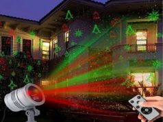 set up Christmas light projector