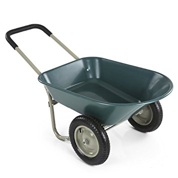 Best Choice Products Dual Wheel Home Wheelbarrow / Yard Garden Cart